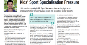 Kids' Sport Specialisation Pressures