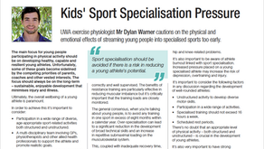 Kids' Sport Specialisation Pressures