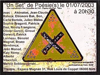 Un set de poésie Espace Magan Nice 2003