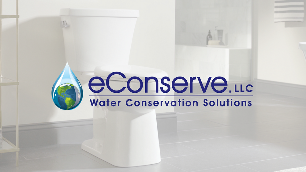 Photo of the eConserve logo over a picture of a bathroom.