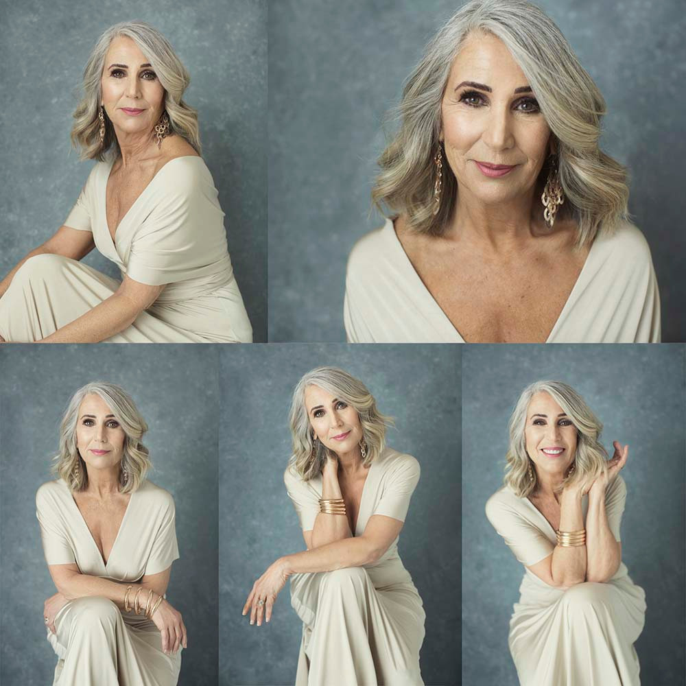 60 year old woman with grey hair glamour portraits