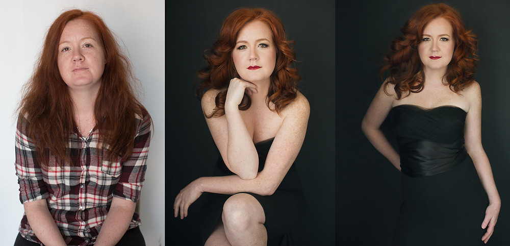 before and after transformation of red head woman