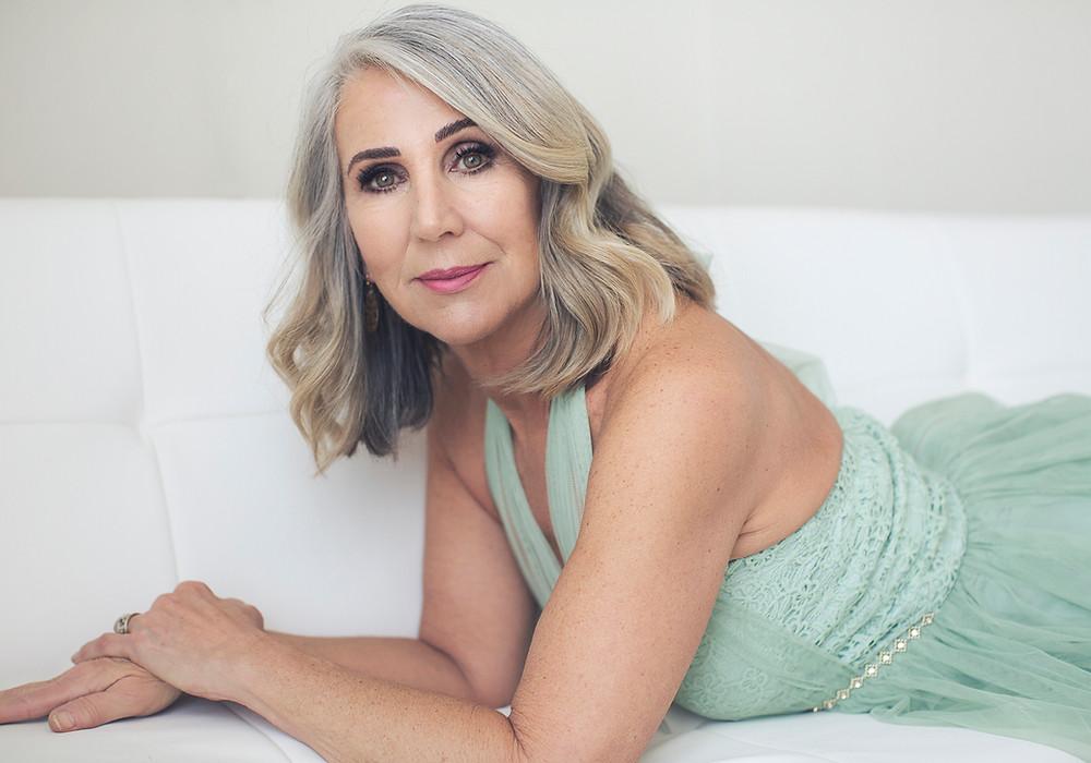 60 year old grey hair woman glamour portrait