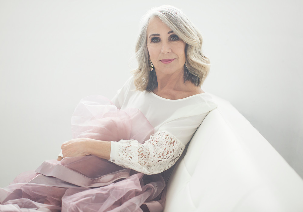 60 year old grey hair woman glamour portrait