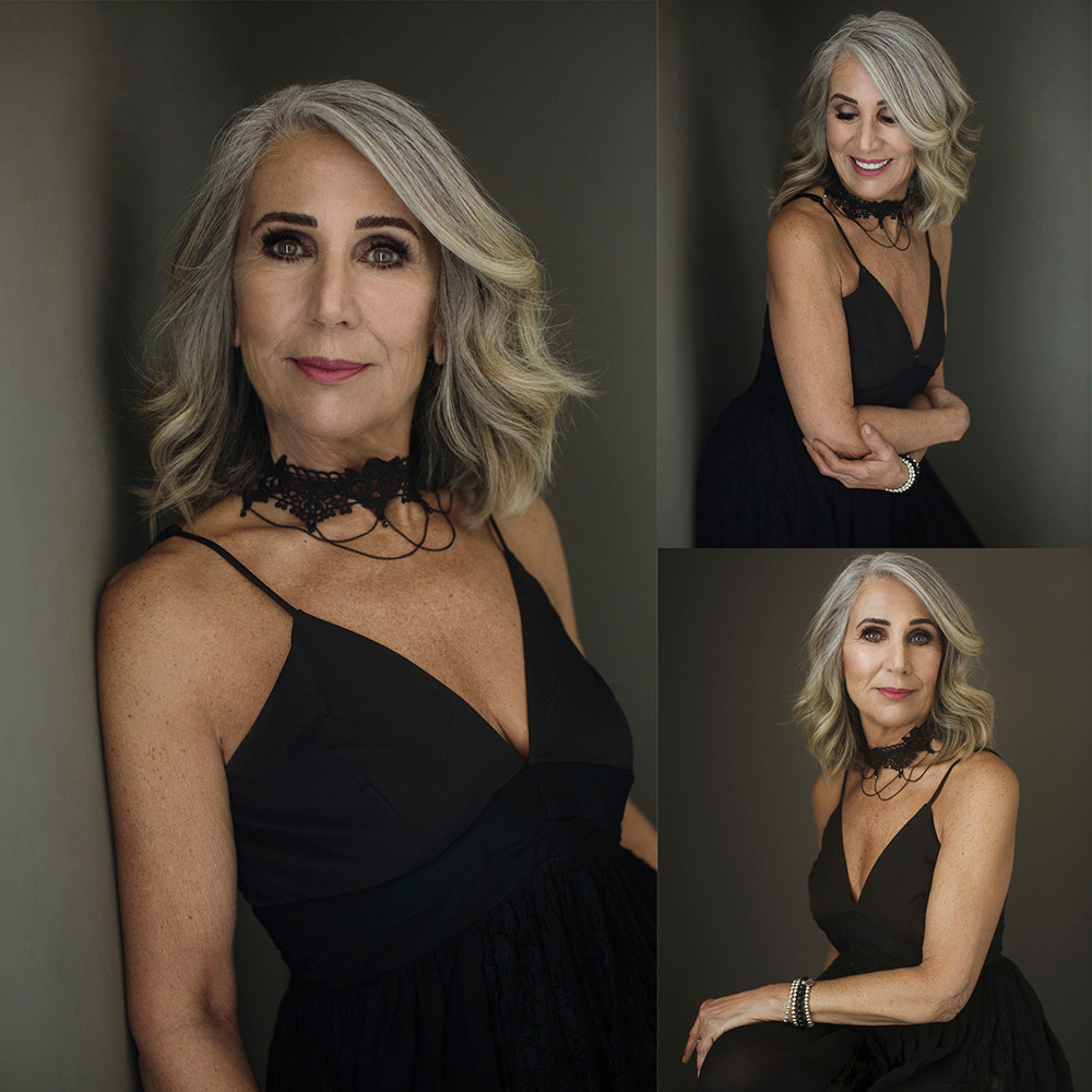 60 year old woman with grey hair wearing a choker glamour portrait