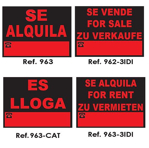 CARTELERÍA COMERCIAL 40x30cm y 70x50cm.