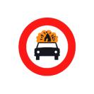 R-109  Entrada prohibida a vehículos que transporten mercancías explosivas.