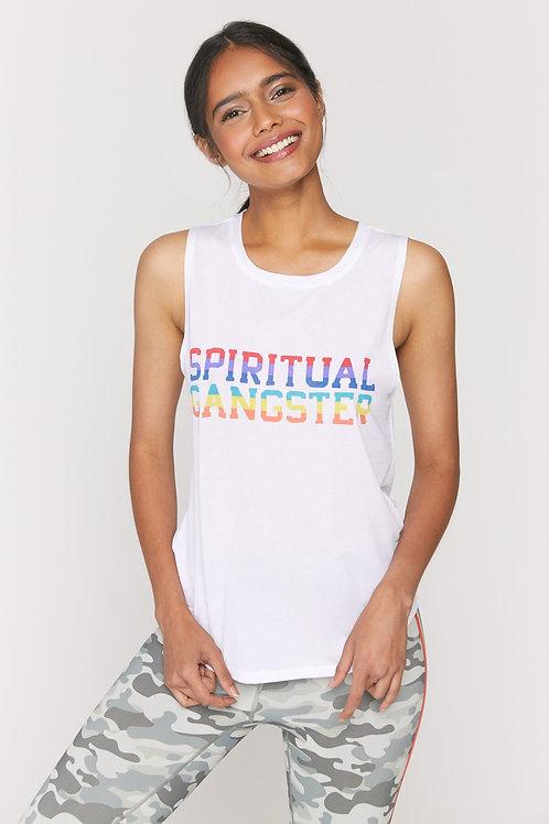 SPIRITUAL GANGSTER - Varsity Rainbow Active Tank White