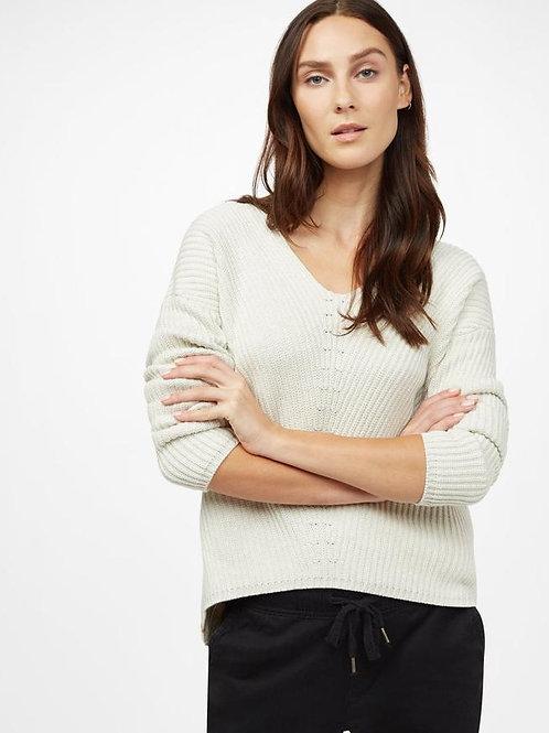 TENTREE - Highline Cotton V-Neck Sweater - elm white heather