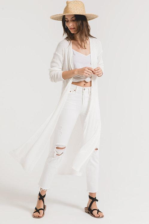Z SUPPLY -Textured Rib Duster Cardigan Desert White