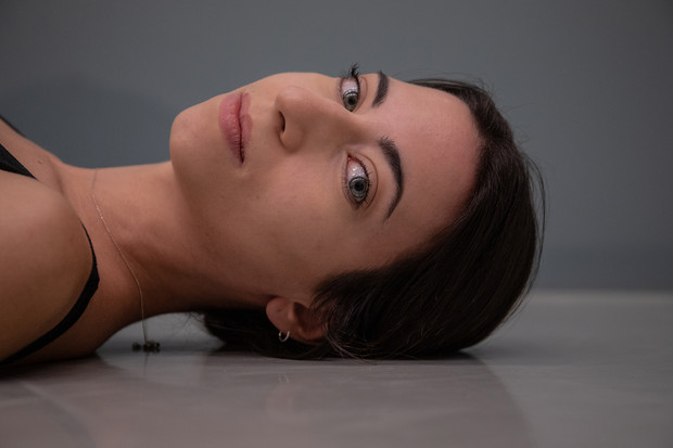 A contemporary dancer, Iris, during her practice