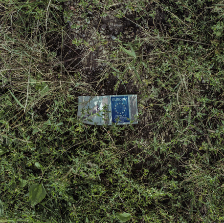 An empty box of matches with the symbol of the European flag found left on the grass around Rožňava, the eastern part of Slovakia.