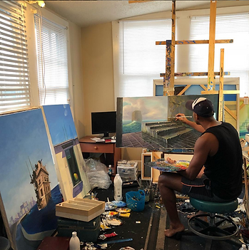 Cuban artist Piki Mendizabal creating a beautiful oil painting.