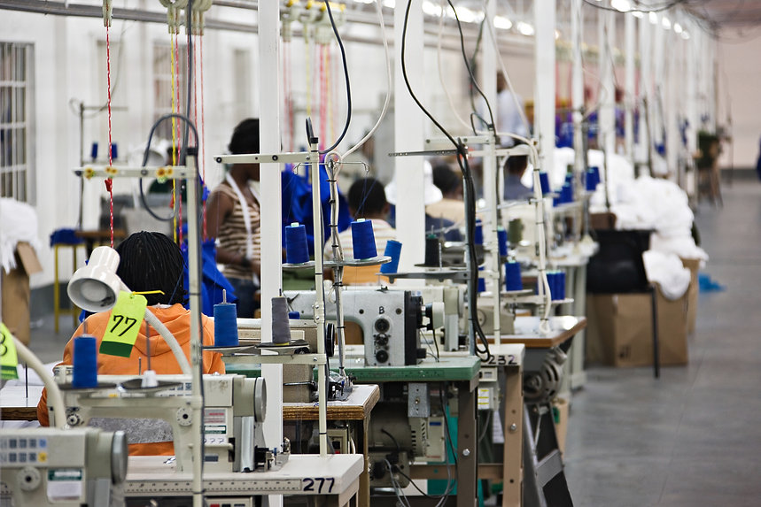 Industrial size textile factory in Afric