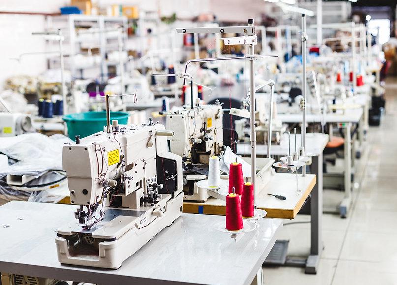 Interior of garment factory shop. Closes