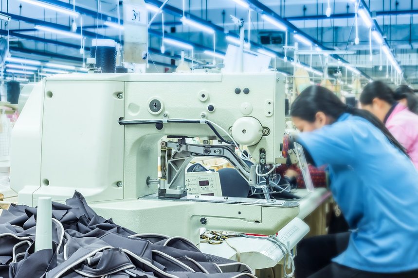 Labor force work in the garment factory.