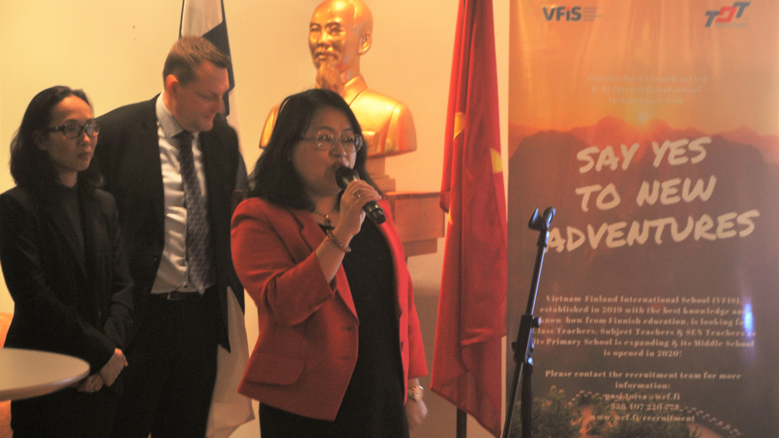 Madam Pham Thi Ngoc Bich, Vietnamese Ambassador to Finland delivered the first keynote speech, talking about cooperation between Vietnam and Finland since 1973, particicularly in education.