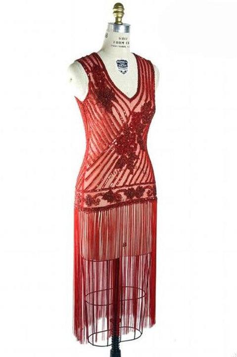 1920s Dlx. Beaded Fringe Gatsby Dress- Red