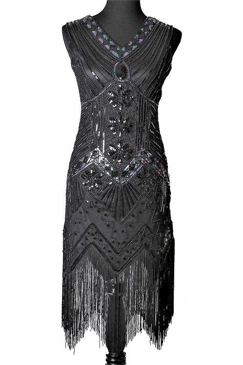 1920's Black Beaded & Sequin Dress with Fringe Hem