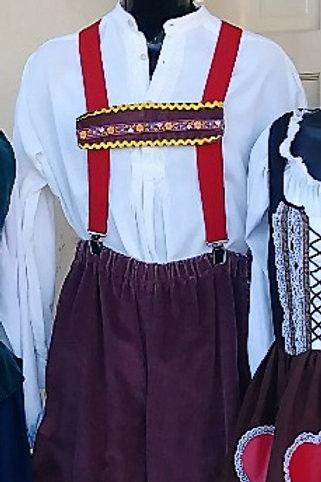 Lederhosen - Bavarian -  Brown Corduroy - Rental