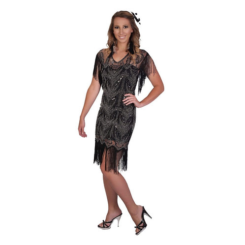 1920's Gatsby Beaded Dress with Fringe Sleeve