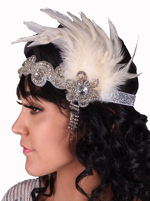 1920 Rhinestone Headband w Drop and Feather