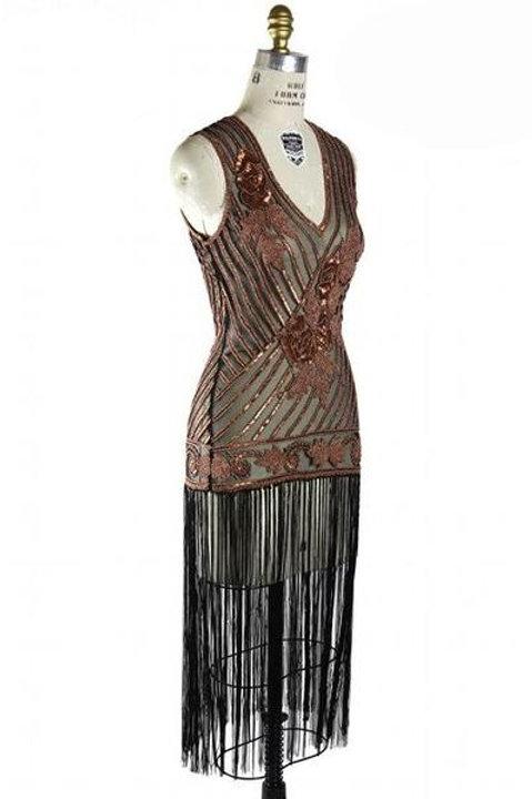 1920s Dlx. Fringed Beaded Gatsby Dress  Rental- Copper