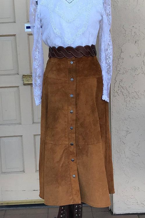 Western-Victorian Suede Skirt Ensemble - Rental