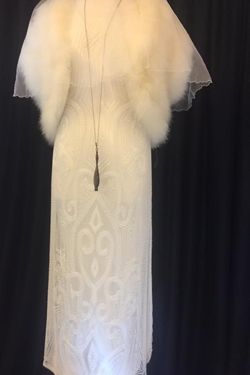 1920s Gatsby Wedding Gown with Fur Bolero - Rental