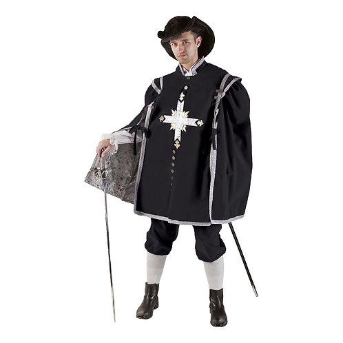 Black & Silver Velvet Musketeer Doublet and Pants - Rental