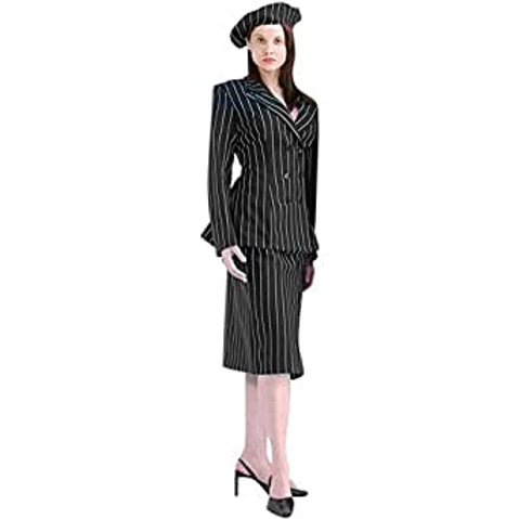 """Bonnie"" Black Pinstripe Suit - Women's"