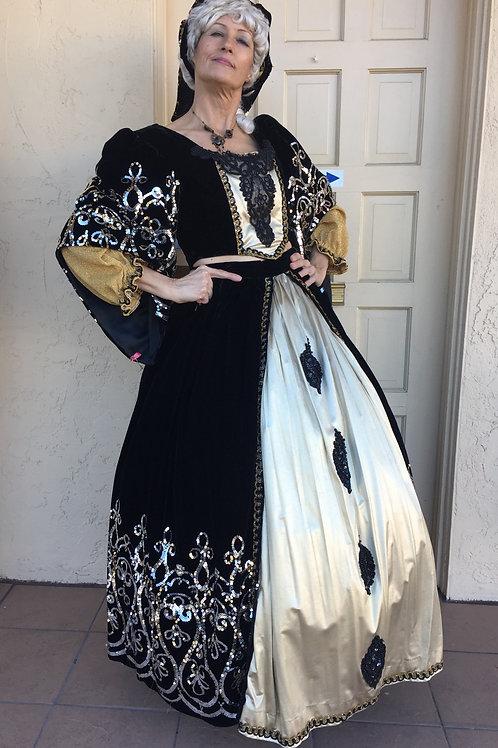 Renaissance Queen - Black Velvet with Gold Sequins - Rental