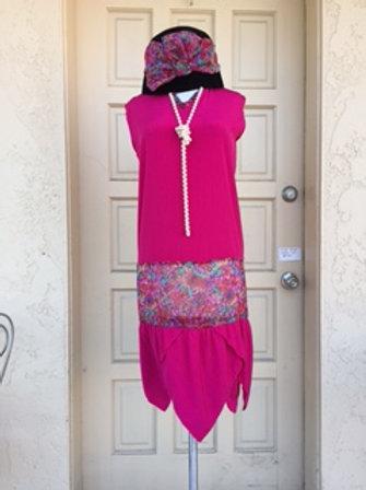 1920s Fuschia Drop Waist Day Dress - Rental