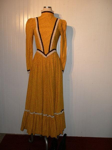 Yellow Calico Western Prairie Dress w/ Bonnet -Rental