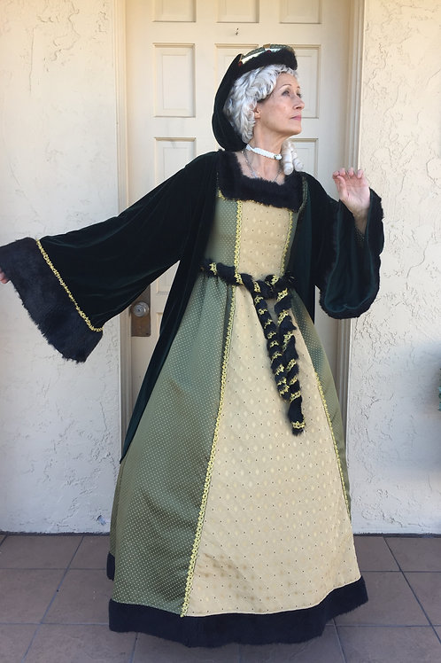 Olive Green and Gold Queen with Velvet Cape - Rental