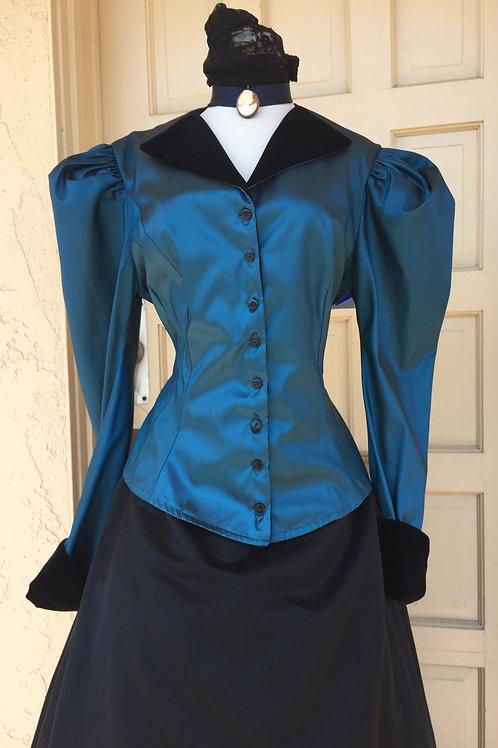 Victorian - Western Teal Taffeta Walking Suit - Rental