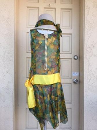 1920s Green Floral Chiffon Day Dress- Rental