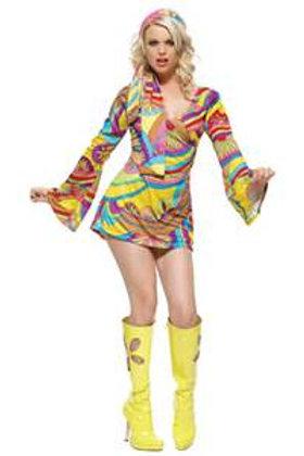 Go Go Dress Yellow Psychedelic- Rental