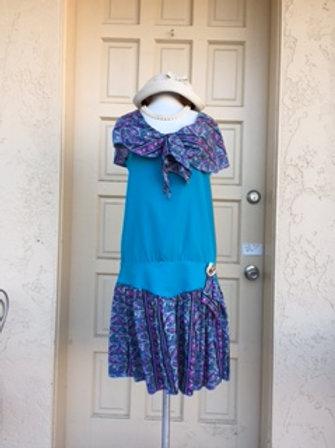 1920s Blue Floral Day Dress-Rental