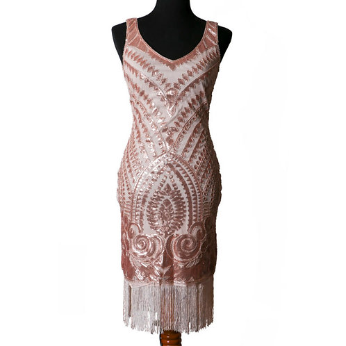 1920's  Pink Beaded and Sequin Dress