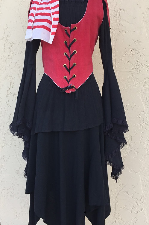 Pirate Wench with Bodice - Hi Lo Hem -Remtal