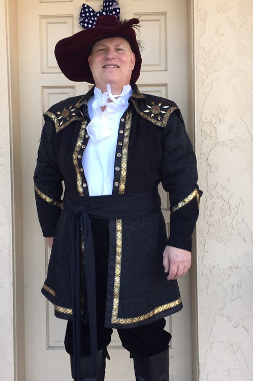 Pirate Captain - Fancy Black Brocade with Gold Trim - Rental