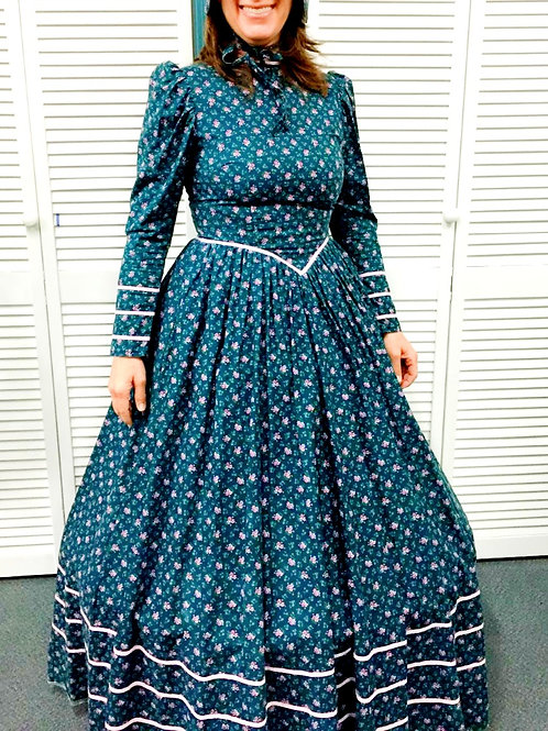 Teal Calico Dress with Bonnet - Rental