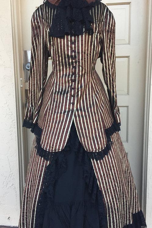 Victorian -Western - Polonaise Walking Suit -Brown Stripe Taffeta - Rental