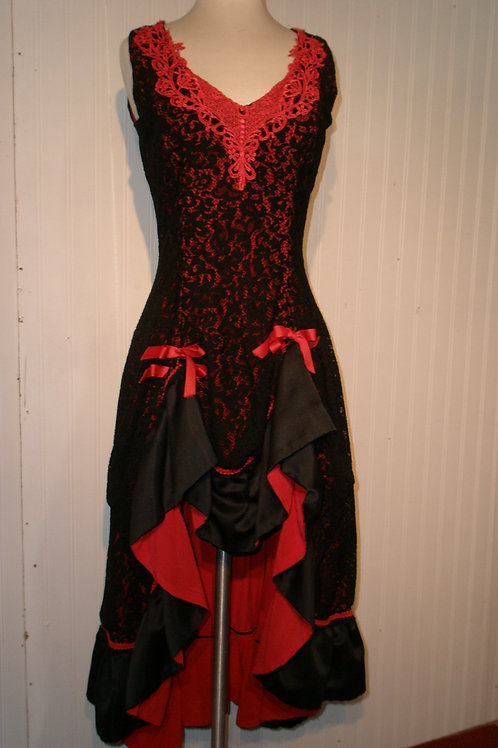 Saloon Girl -Red & Black Lace - Hi-Lo Skirt