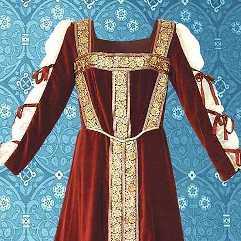 Ren. Lady Jane Burg. Velvet Court Dress - Rental