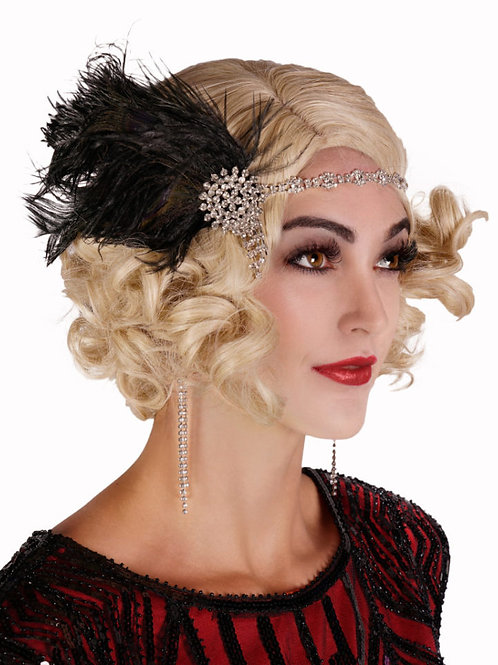 1920s Rhinestone Headband w/ drop and Black Feather