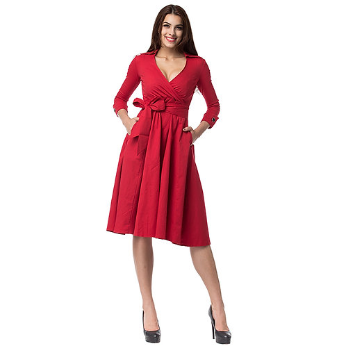 1950s Swing Dress w Long Sleeves and Side Bow