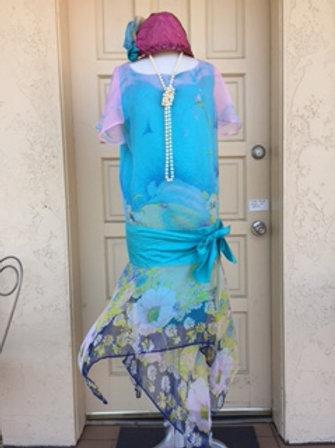 1920s Chiffon Floral Day Dress - Rental