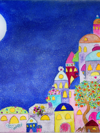 Colouful City under full moon